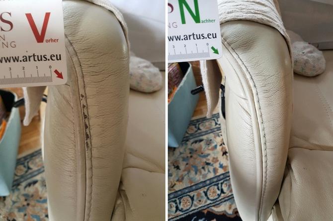 Leder Sofa Abschürfung Armlehne
