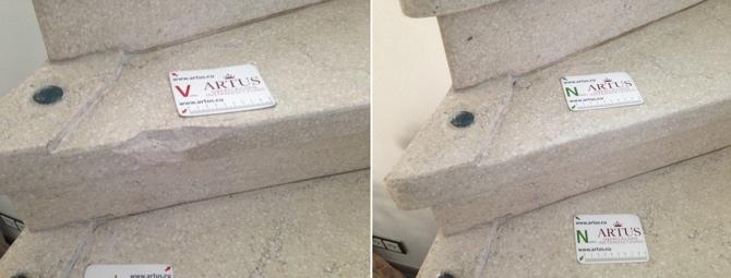 Abbruch an einer Steintreppenstufe